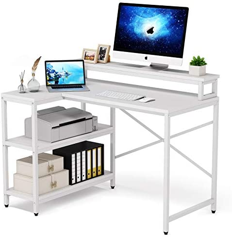 L Shaped Desk with Storage Shelves, Tribesigns Rustic Corner Desk Study Writing Workstation with Monitor Stand Riser for Home Office Small Space (White)