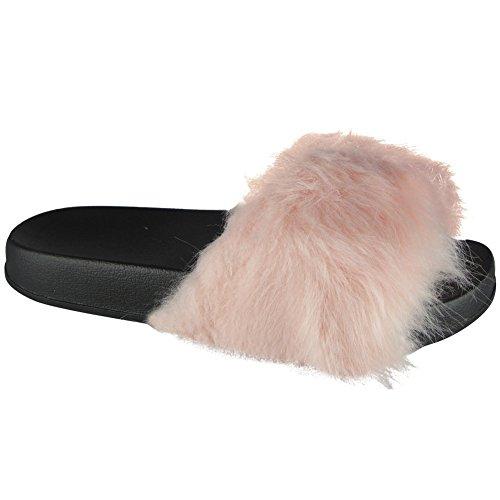 Damen Gummi Multi Pom Pom Schieber Wohnungen Schuhe Rutschen Hausschuhe Größe 36-41 Rosa