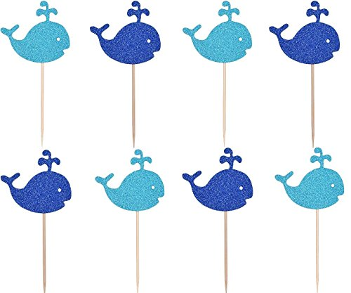ZEALAX Nautical Ocean Glitter Whale Cupcake Toppers Picks Baby Shower Decorations Preppy Boy Birthday Supplies, Set of 20 -