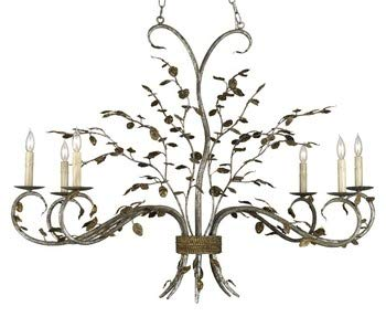 (Currey and Company 9021 Raintree - Six Light Chandelier, Viejo Gold Leaf/Viejo Silver Leaf Finish with Shade Option )