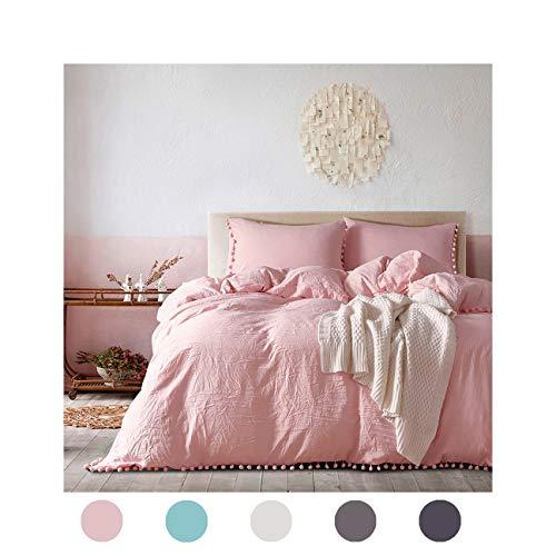 3 Pieces Pink Bedding Pink/Peach Duvet Cover Set Ball Fringe Pattern Design Soft Light Pink Girls Bedding Sets Queen One Ball Lace Duvet Cover Two Ball Fringe Pillow Shams (Queen, ()