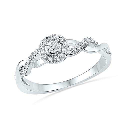10kt White Gold Womens Round Diamond Solitaire Twist Woven Promise Bridal Ring 1/6 Cttw