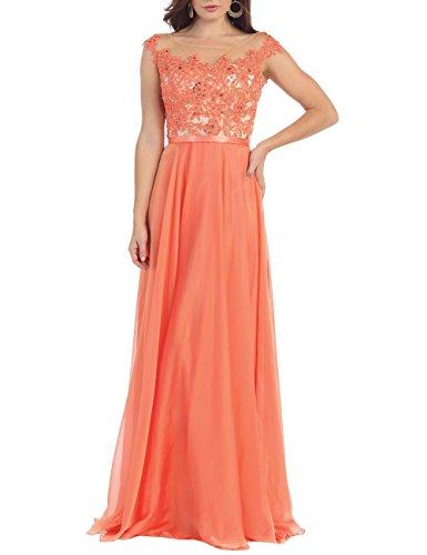 Erosebridal mit Rüschen Bodenlänge Chiffon Blume Orange Abendkleid wwqSHnUzv