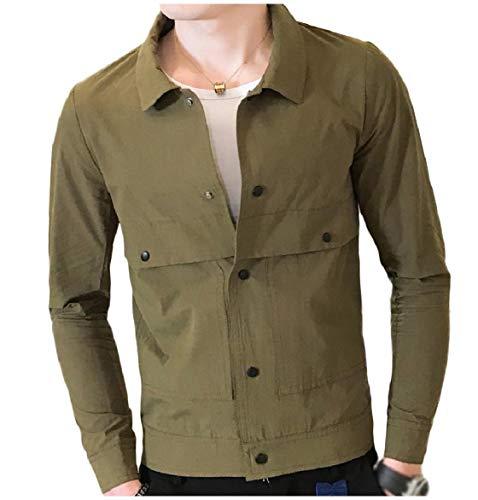 Casual Turn Coats Army Down Collar Jacket Men Button Howme Green Short Lightweight qOBTARwgx