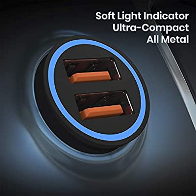 2020 Dual USB Car Charger - Fast Car Charger - Mini Flush Fit 36W 6A Metal Phone Charger for Cars - Compatible iPhone 11 Pro XS XR X, Samsung Galaxy Note and More: Home Audio & Theater