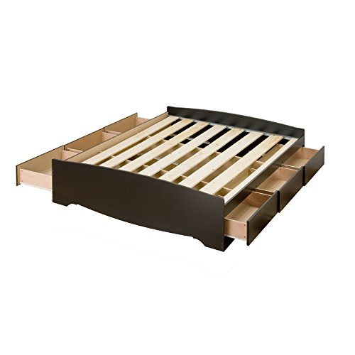 prepac full mate's platform storage bed with 6 drawers, black