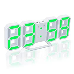 EAAGD Electronic LED Digital Alarm Clock [Upgrade Version] , Clock Can Adjust the LED Brightness Automatically in Night (White/Green)