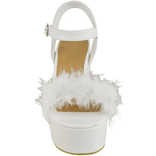 Fashion Thirsty Heelberry® New Womens Ladies Block High Heel Fur Sandals Ankle Strappy Party Platforms Size White Faux Leather 3i1j21