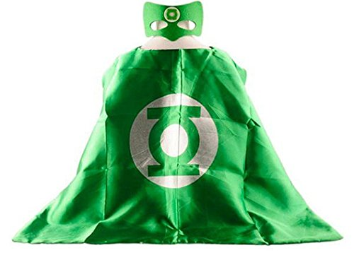 Superhero GREEN LANTERN CAPE AND MASK SETSingle layer Halloween (Good Green Lantern Costume)