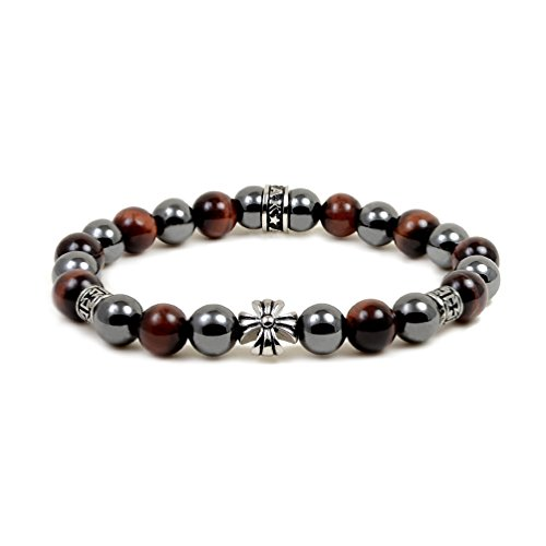 (Accents Kingdom Women's 8MM Magnetic Hematite Red Tiger Eye Bead Maltese Cross Bracelet 7.5