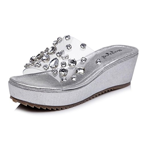 Transparent size heel sandals small mid slippers female straw shoes BaiLing Heel Womens knitted Silver handmade Wedge waterproof summer 7wwqzWBZO
