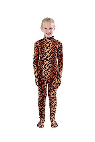 Full Bodysuit Kids Dancewear Solid Color Lycra Spandex Zentai Child Unitard (Medium, Tiger)]()