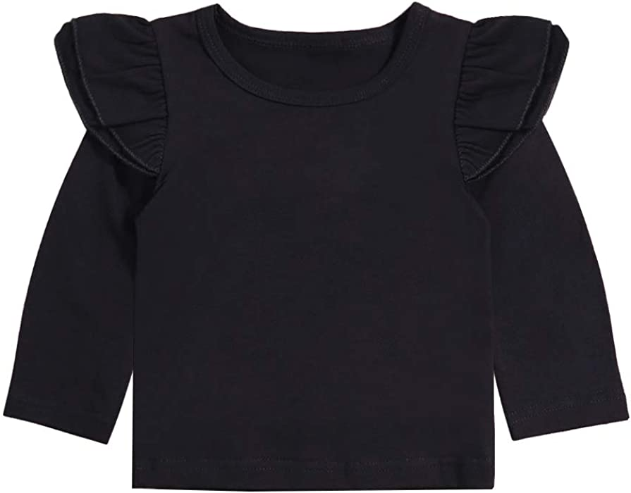 7eaa4240f78 Infant Toddler Baby Girl Top 6 12 24 Months Clothes Basic Black Plain  Ruffle Tee Long