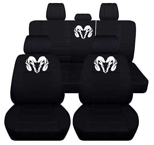 Fits 2012 to 2018 Dodge Ram Front and Rear Ram Seat Covers 22 Color Options (Solid Rear Bench, Black)