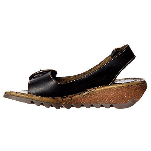 Black Slingback Donna London Sandals Nero Fly Oro Pelle Tram Scarpe nbsp; YxvwqwpS6