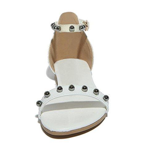 TAOFFEN Mujer Moda Punta Abierta Correa de Tobillo Zapatos Chicas Colegio Retro Sandalias Blanco