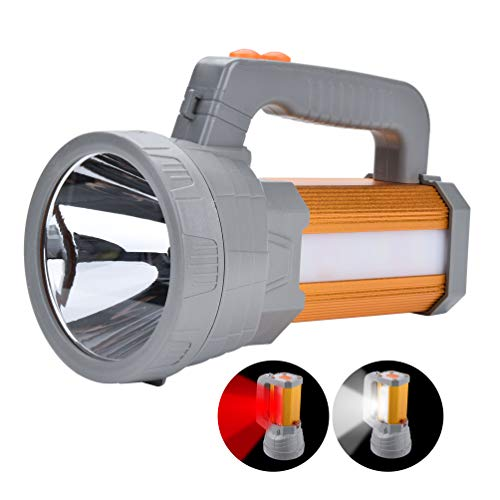 High Powered Super Bright Rechargeable LED Spotlight Flashlight High Lumens Handheld CREE Searchlight Large Battery 10000Mah Long Lasting,Side Floodlight Work Light Camping Lantern USB Charge Phone