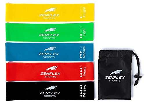 Zenflex Exercise Resistance Loop Bands- Set of 5, with Carrying Bag, Great for Physical Therapy, Yoga, Muscle Sculpting and Toning (12' Long, 2.5' Wide, 5 Resistance Levels, 100% Natural Latex)