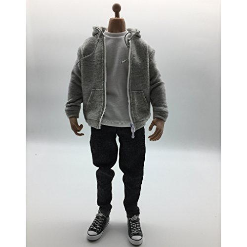 MonkeyJack 1/6 Scale Action Figure Clothes Gray Hoodie T-shirt Jeans Shoes Full Set Accessories ()