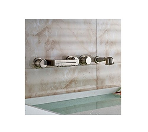 GOWE Modern Wall Mounted Roman Bathtub Brushed Nickel Bathroom Tub Faucet W/Hand Shower - Wall Mounted Roman Tub