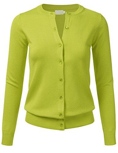 FLORIA Women's Gem Button Crew Neck Long Sleeve Soft Knit Cardigan Sweater Lime XL