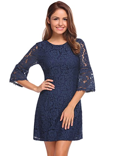 Zeagoo Women's 3/4 Flare Sleeve Floral Lace A-line Cocktail Party Dress (Medium, Navy Blue)