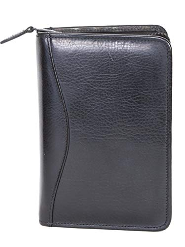 Scully Plonge Leather 3 Ring Zippered Weekly/Monthly Planner Agenda Black ()