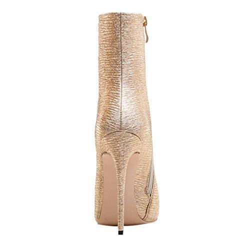 ENMAYER Frauen High Heels Spitzzange Stiletto Zipper Winter Stiefeletten Hellgold