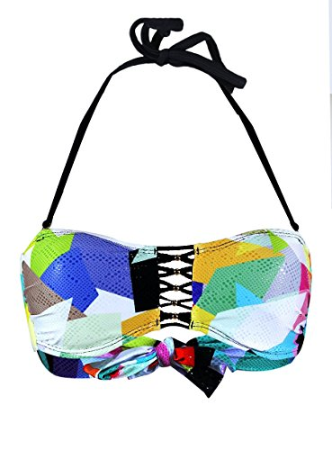 PilyQ Geo Mix Up Braided Bandeau Bikini Top (S)