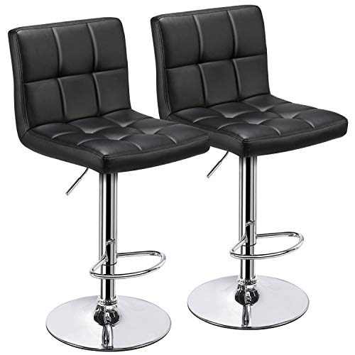 Yaheetech Bar Stools Set of 2 – Modern Adjustable Kitchen Island Chairs Counter Height Barstools Swivel PU Leather Chair Black 30 inches,X-Large Base and Seat