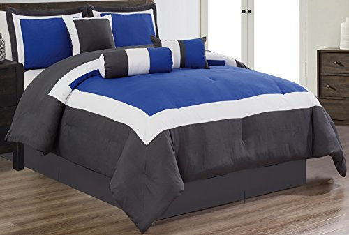7 Piece Oversize ROYAL BLUE / WHITE / GREY Color Block Comforter set 94″ X 90″ Queen Size Bedding
