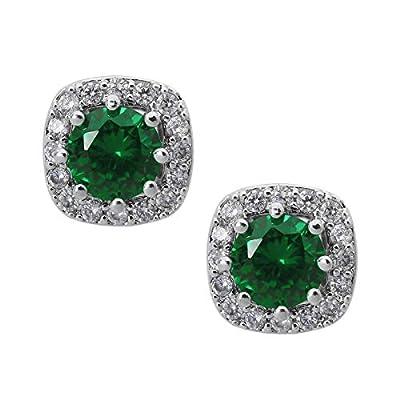 SWEETV Cubic Zirconia Stud Earrings for Women, Girls-Rhinestone Bridesmaid Earrings Hypoallergenic for Wedding, Prom, Everyday Wear,Jewelry Gifts