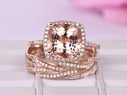 Cushion Morganite Engagement Ring Bridal Sets Diamond Eternity Infinite love Band 14K Rose Gold 10mm