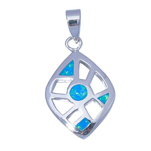 Blue Fire Opal 18K Gold Plated Women Jewelry Handmade Vingate Pendant 1 OD6897