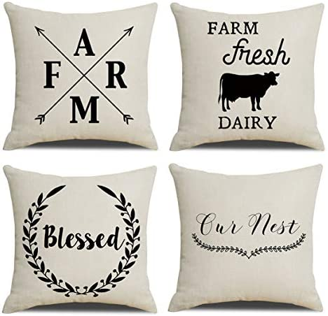 Amazon Com Ruoar Set Of 4 Throw Pillow Covers Square Cotton Linen Farmhouse Style Decorative Home Decor Design Set Cushion Covers Pillowcases With Hidden Zipper For Sofa Bedroom 18 X18 Farm Blessed Arrow Cow Home Kitchen