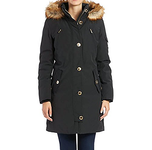 MICHAEL Michael Kors Women's Down Parka w/ Faux Fur Trim Black Outerwear XS by Michael Kors