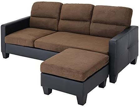 Beshomethings L Shaped Corner Modern Fabric Upholstered 3 Seater Sofa Settee Left or Right Chaise Couch With Faux Leather Arm