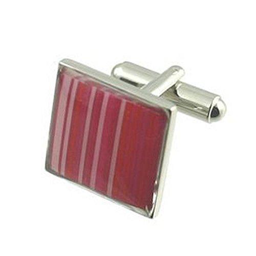 Boutons de manchette motif rose Cufflinks ~ ~ rayures papier peint Cufflinks Choisir cadeau Noir Pouch
