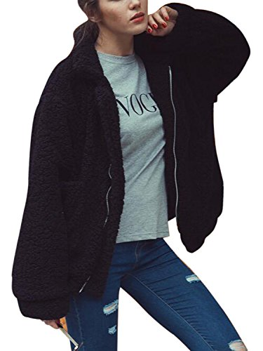 - Women's Black Reversible Faux Fur Winter Cardigan Shearling Coat XL