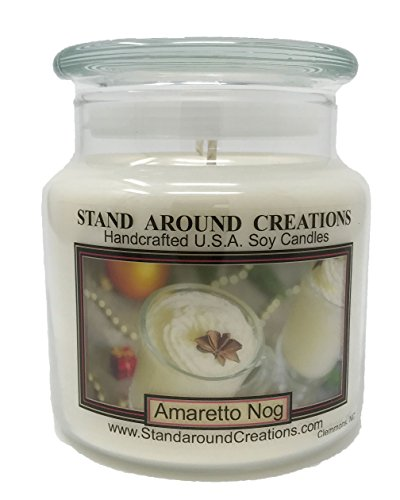 Premium 100% Soy Candle - 16 oz Double Wicked Apothecary Jar - Amaretto Nog: A holiday warmer of sweet almond and vanilla over 112 Hrs. Burn - Apothecary 16 Candle Oz