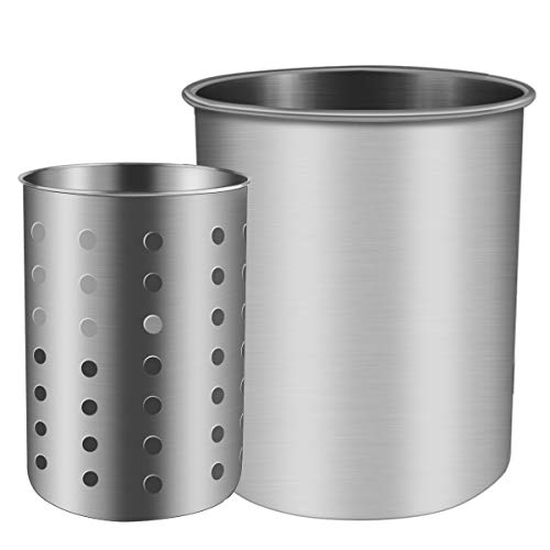 ENLOY Cooking Utensil Holder, Stainless Steel Rust Proof Large Kitchen Utensil Organizer for Forks, Spoons, Knives, Various Tableware, Desk Supplies, Dishwasher Safe, 7.2x7.2 inches, 6.8x5 - Round Whisk Steel