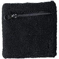 BKAUK - Muñequera deportiva con cremallera, color negro