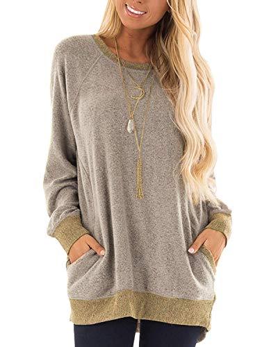 (MICHAELAN Womens Casual Color Block Long Sleeve Round Neck Pocket T Shirts Blouses Sweatshirts Tops for Ladies Girls (Khaki,)