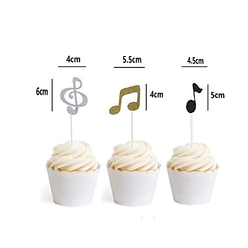 LQQDD Music Notes Cupcake Topper Music Notes Cupcake Wrappers Lace Muffin Case Cupcake Paper Cup Liner,Music Notes Decorations Party Supplies Birthday Cake Decorating Tools Baby Showers Party by LQQDD (Image #2)