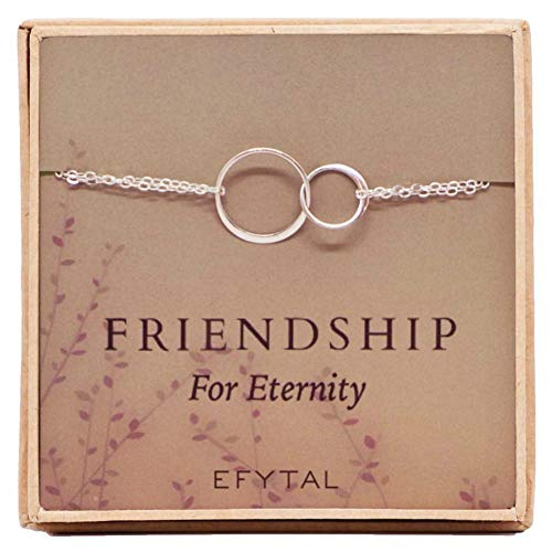 EFYTAL Sterling Silver Friendship for Eternity Bracelet, Two Interlocking Infinity Circles Gift for Best Friend