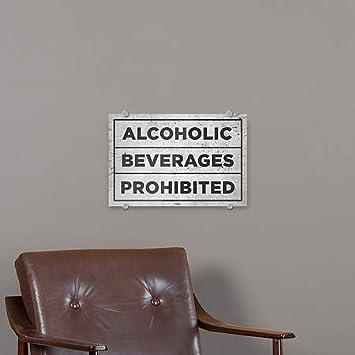 Alcoholic Beverages Prohibited Basic Gray Premium Brushed Aluminum Sign CGSignLab 27x18