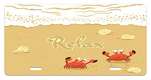 Crabs License Plate by Ambesonne, Funny Summer Card with Cute Crabs on the Beach Holiday Vacation Theme Print, High Gloss Aluminum Novelty Plate, 5.88 L X 11.88 W Inches, Sand ()