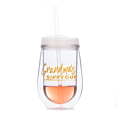 Grandma's Sippy Cup On-The-Go - Double-Wall Acrylic Wine Tumbler with Lid and ()
