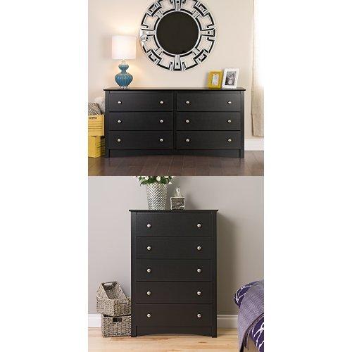 (Black Sonoma 6 Drawer Dresser & Black Sonoma 5 Drawer Chest)
