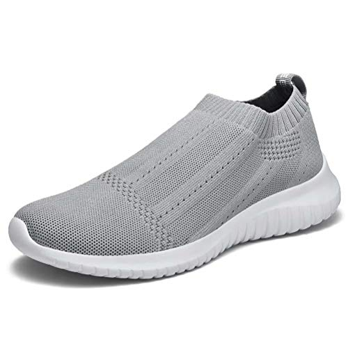 (konhill Women's Casual Walking Shoes Breathable Mesh Work Slip-on Sneakers 10 US Light Grey,42)
